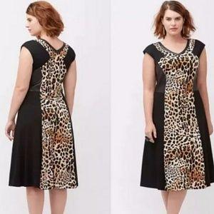 LB Leopard Print Faux Leather Dress Knit stretchy